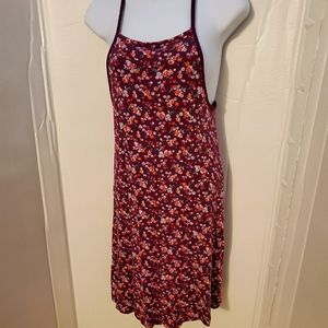 SO maroon floral high neck swing dress